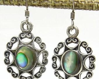 Sterling Silver 925 Earrings Heart & Mother Of Pearl Southwestern Style