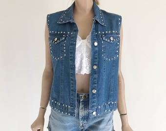Vintage 90's Denim Studded Embellished Vest