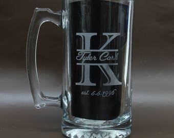 Engraved Beer Mug,Personalized Beer Mug,Groomsmen Mug,Personalized Glasses,Beer Stein,Etched Beer Mug,25 Ounce Mug