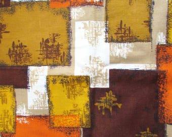 Vintage 1950 Mid Century Design Bark Cloth Fabric, Bold Geometric in Orange, Yellow Gold, Browns,  2 Yards Unused Vintage Bark Cloth