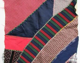 Antique Victorian 1900 Vintage Large 14 Inch Silk Fabrics Crazy Quilt Fancy Stitch Square, Hand Stitch Work, Muslin Backing