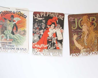 Vintage Art Nouveau Women Posters Paper Banner, Paper Bunting, Double Sided Banner, Victorian Women, Events Banner, Womens Party  Banner
