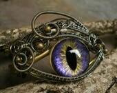 Gothic Steampunk Adjustable Bronze Purple Eye Bracelet Cuff