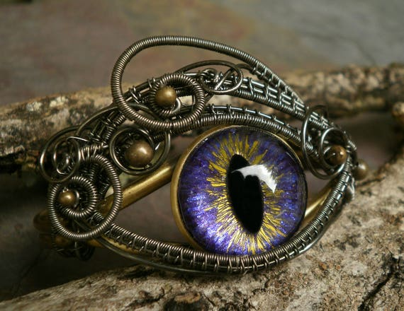 Gothic Steampunk Adjustable Bronze Purple Eye Bracelet Cuff