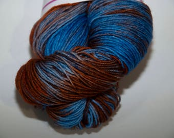 Hand-Dyed Yarn in Earth and Sky Colourway Sock Yarn Superwash Wool/Nylon Tootsie Base