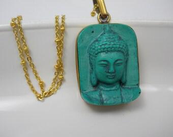 Necklace Buddha Head Pendant Om Yoga Namaste Jewelry on Long Gold Plated Chain Yogi Meditation Jewelry Made in Nepal Molded Resin Turquoise