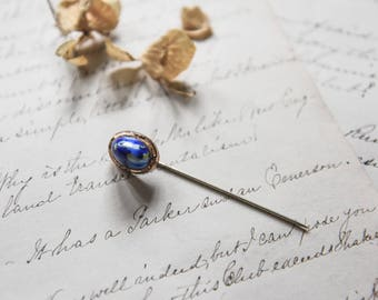 Antique Stick Pin, Victorian Era Stick Pin, Vintage Stick Pin, Antique Pin, Blue Cab Stick Pin, Antique Brooch, Antique Jewelry,