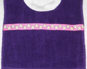 Terry Cloth Towel Baby Bib Purple with Fun Flowers Trim Handmade
