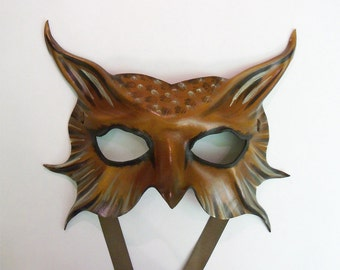 Leather Mask could be Owl or Bird or Animal creature Barn Owl grey brown white