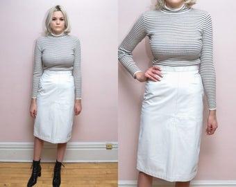 Vintage 80s White Leather Midi Skirt // High Waist Pencil Skirt - 27 inch waist