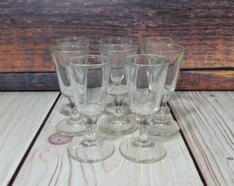 Vintage Stemmed Shot Sherry Glasses Set of 8