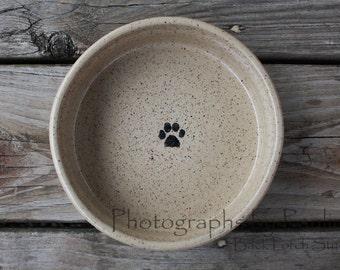 7  Inch Creamy Beige Stoneware Pet Bowl