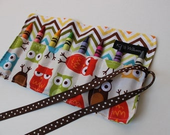 Owls Crayon Roll Organizer-Great Gift Party Favor-Easter Basket Item-Stocking Stuffer-Ready to Ship-8 Crayola Crayons Included-Kid Travel
