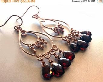 15% OFF sale, Rose Gold Black Cherry Chandelier Earrings, Pink gold earrings, gemstone red earrings