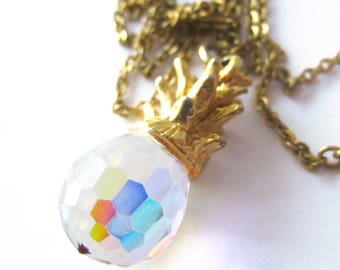 Crystal Pineapple Necklace / Vintage Pineapple Pendant /  Aloha Pineapple Necklace
