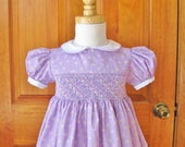 Smocked dress Size 24Mo, Lavender dress Pink flowers, Easter dress, Ready to ship, Girl lavender dress, Party dress, Toddler dress, Birthday