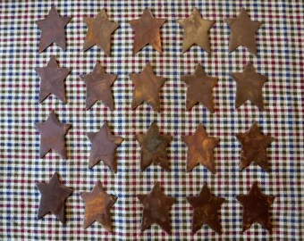 Lot of 20 1 inch Rusty Primitive Stars 1""