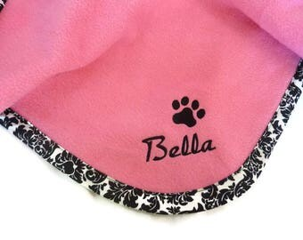 Pet Blanket.Personalized Pet Blanket. Dog Blanket. Cat Blanket. Fleece Pet Blanket. Pink Damask Pet Blanket