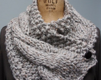 Hand Knit Cable Bulky Neck Cowl Scarf with Buttons Gray Tweed