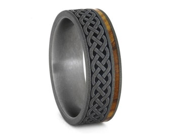 celtic knot ring renaissance wedding ring in titanium mens wood wedding band with celtic - Mens Celtic Wedding Rings
