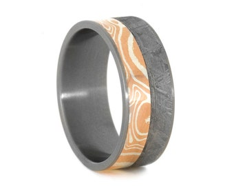 Unique Wedding Band For Men, Silver And Copper Mokume Gane And Meteorite Ring, Mens Titanium Ring