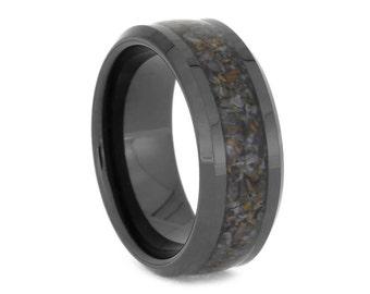 Black Ceramic Wedding Band With Crushed Dinosaur Bone Inlay, Fossil Ring, Signature Style
