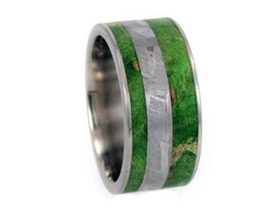 Meteorite Ring, Mens Wood Wedding Band, Titanium Ring With Green Box Elder Burl Inlay