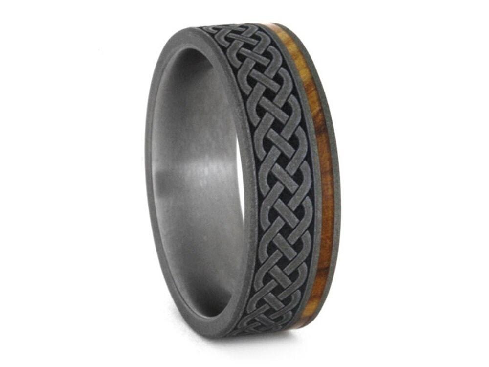 celtic knot ring renaissance wedding ring in titanium mens