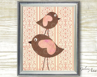 Birds nursery wall art - childrens art - kids room decor - baby girls art - Pink and brown - Pink Wings print