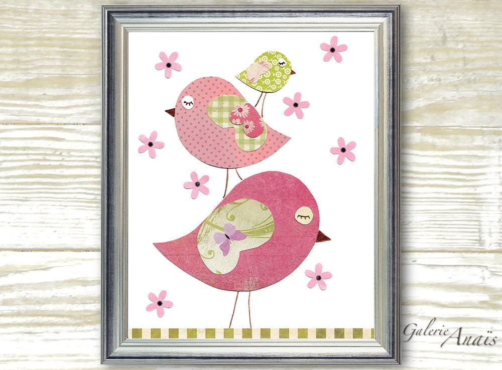 Curtains For Baby Girl Nursery: Baby Girl Nursery Decor Bird Nursery Art Kids Wall Art Baby