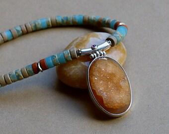 Caramel Druzy & Sterling Silver Pendant on Pale Blue Sea Sediment Heishi Necklace . Rustic Boho Tribal Southwest Style Jewelry
