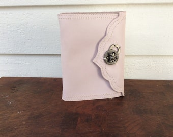 Light pink leather journal with reclaimed leather and recycled paper by Binding Bee