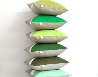 Custom Green Colorblock Pillow Covers, Pantone Color of the Year, Greenery 2017, Linen Pillows by JillianReneDecor, Spring Home Decor