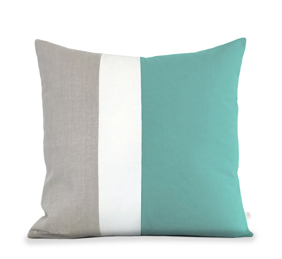 Beach Home Decor Pillows: Beach House Decor: Color Block Pillow In Mint Cream And