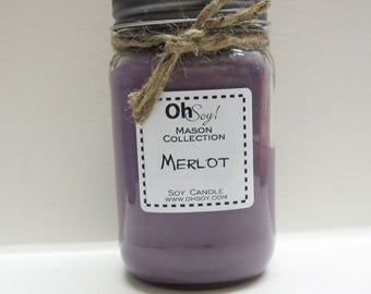 Soy Mason Jar Candle -Merlot - 16oz OhSoy! Mason Candle