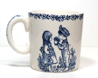 SALE Vintage Alfred Meakin Child's Mug/ Boy Girl Blue on White Cup/ England