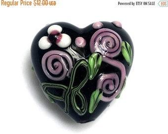 ON SALE 45% OFF Handmade Glass Lampwork Bead -11809905 Heart Focal Bead-Black w/Pink & White Flower