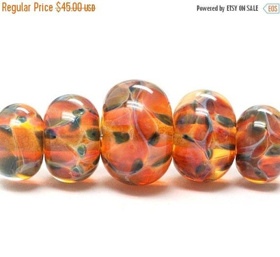 ON SALE 45% OFF Handmade Glass  Lampwork Beads  Sets - Five Graduated Green & Orange Rondelle Beads - 10504711