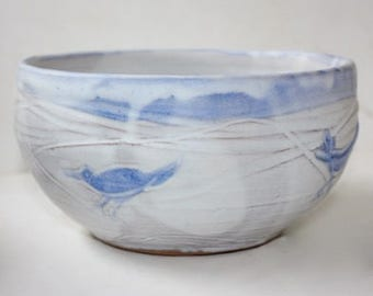 Stoney White Multipurpose Bowl With whimsical Bird Carving And Blue decoration  for Serving and Baking or Even Planting