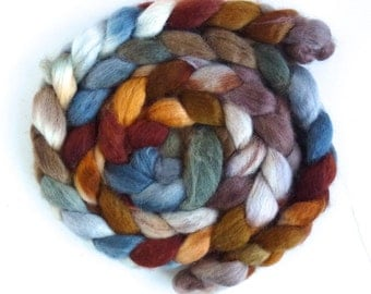 BFL Wool Roving - Hand Painted Spinning or Felting Fiber, Standing Still