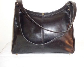 Handmade in USA med size  tote , top zip  tote, bag, hobo, satchel in thick soft  calf leather jet black vintage 1988 pristine condition