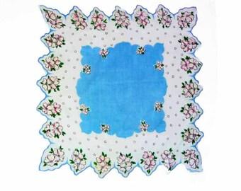 1950s Periwinkle Blue Lace Shaped Linen Handkerchief Polka Dot White Pink Dogwood Green Leaves Bridal Shower Wedding Flower Girl Hankie