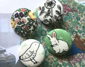 "Handmade Large Rabbit Bunny Bird Animal Leaves Flower Plants Nature Fabric Covered Buttons Magnets Flat Backs , 1.2"" 4's"