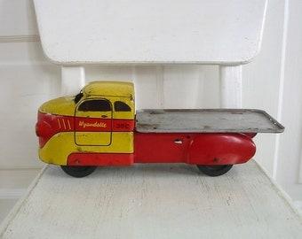 Vintage Metal Toy Truck, Yellow Red Truck, Pick Up Truck, Industrial Decor, Flatbed Truck, Wyandotte Truck, Antique Truck, Metal Truck