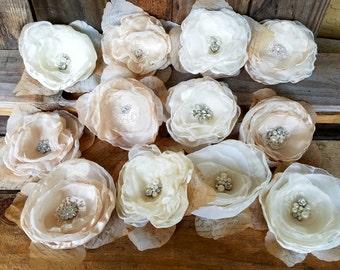 Fabric flowers, DIY Wedding,Bridal Flowers,Wedding Decor, Beige Champagne, Ivory, Craft supply, hair flowers, DIY bridal bouquet 12