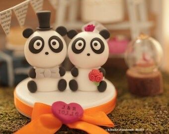 Panda Wedding Cake Topper---k907