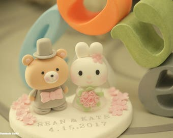 rabbit and bear wedding cake topper --k915