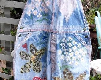 Funky, Junky, Vintage, Tattered, Hand Painted, Plus Size,  Retro Liberty Denim Overalls/ Boho Sheerfab Funwear