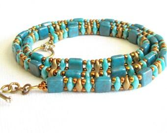 jade bracelet superduo wrap bracelet green and gold bead bracelet beaded wrap bracelet boho stackable bracelet hippie bracelet