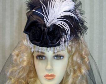 Steampunk Mini Riding Hat Victorian Hat 1800s Style Hat BlaCk And WhiTe Civil War Reenactment Hat